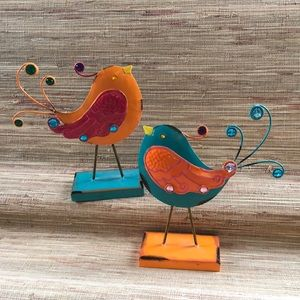 Set of adorable metal birds